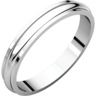 Platinum 03.00 mm Half Round Edge Band