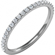 14kt White Band Complete with Stone SI2-SI3 Round 01.30 MM Diamond Polished 1/4CTW BAND