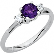 14KW .08 CT TW/ 05.20 MM P GEN AMETHYST & DIAMOND RING