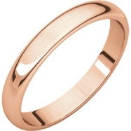 14kt Rose 04.00 mm Light Half Round Band