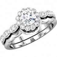 14kt White ENGAGMENT Semi-Mount with Head SI2-SI3 Round 06.50 MM Polished 1/4 CTW ENGAGMENT RING