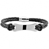 08.50 INCH NONE 3MM LEATHER BRACELET