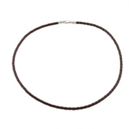 20 INCH NONE 4MM DK BROWN FAUX LEATHER NECK