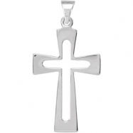 STER 27.50X18.00 MM P CROSS PENDANT