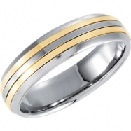Stainless Steel 09.50 06.50 MM POLISHED 14kt GOLD INLAY DOMED BAND