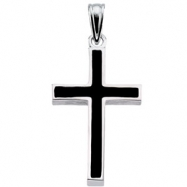 Sterling Silver 20.00X13.00 MM Polished CROSS W/BLACK EPOXY