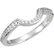 14kt White Band Complete with Stone SI2-SI3 Round 01.00 MM Diamond Polished 1/6CTW BAND
