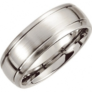 Cobalt SIZE 09.50 08.00 MM SATIN/POLISHED GRVD SLGTY DOMED RND EDGE BAND