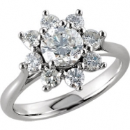 14kt White 1 3/4 CT TW Polished DIAMOND CLUSTER RING