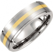 Titanium/14kt Yellow 09.00 07.00 MM SATIN AND POLISHED 14kt GOLD INLAY RIDGED BAND