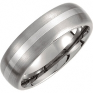 Titanium/Sterling Silver 08.00 07.00 MM SATIN AND POLISHED SS INLAY BAND