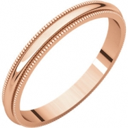 14kt Rose 02.50 mm Milgrain Band