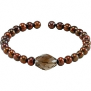 NONE SMOKY QUARTZ & COPPER PEARL NONE 7.5 INCH CUFF BRACELET