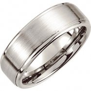 Cobalt 10.00 8.0 MM SATIN/POLISHED ROUNDED RIDGED BAND