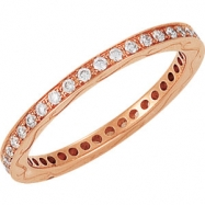 14kt Rose Band Complete with Stone 07.00 ROUND 01.30 MM Diamond Polished 3/8CTW ETERNITY BAND