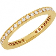 14kt Yellow Band Complete with Stone 07.00 ROUND 01.30 MM Diamond Polished 3/8CTW ETERNITY BAND
