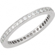 14kt White Band Complete with Stone 07.00 ROUND 01.30 MM Diamond Polished 3/8CTW ETERNITY BAND