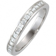 14kt White Band Complete with Stone SI2-SI3 NONE 01.75X01.75 mm Diamond Polished 3/4CTW BAND