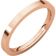 14kt Rose 02.00 mm Flat Comfort Fit Band