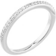 14kt White Band Complete with Stone SI2-SI3 Round 01.10 MM Diamond Polished 1/8 CTW BAND