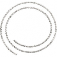 14kt White BULK BY INCH Polished WHEAT CHAIN