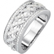 14kt White 5/8 CT TW Polished ANNIVERSARY BAND