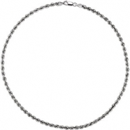 14kt White 16 INCH Polished 04.00 MM ROPE CHAIN (REP CH509
