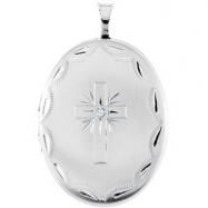 Sterling Silver Pendant Round .015 NONE Polished .015CT DIA OVAL CROSS LOCKET