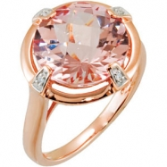 14kt Rose .02 CT-TW/ 12X12MM Polished GEN CKRBRD MORGANITE & DIA RIN