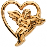 Sterling Silver 09.00X09.00 MM Polished ANGEL LAPEL PIN