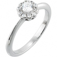 14kt White Engagement Complete with Stone SI2-SI3 Round 04.30 MM Diamond Polished RING