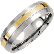 Titanium/14kt Yellow 06.50 06.00 MM POLISHED 14kt GOLD INLAY SATIN DOMED BND