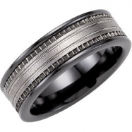 Ceramic & Tungsten 07.50 08.00 MM TUNGSTEN INLAY CERAMIC COUTURE NONE