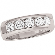 14kt White Band Complete with Stone GENTS ROUND 03.70 MM Diamond Polished 1CTW GENTS DIAMOND BAND