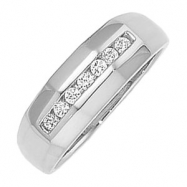 14kt White 1/5CTTW, SI2-3,GH Polished GENTS DIAMOND RING