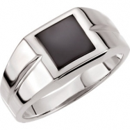 Sterling Silver 08.00X08.00 mm Polished Mens Genuine Onyx Ring