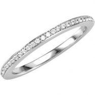 14kt White Band Complete with Stone SI2-SI3 Round 01.00 MM Diamond Polished 1/8CTW BAND