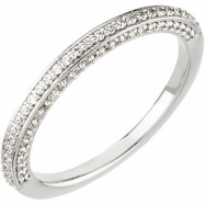 14kt White Band Complete with Stone 3/8 CTW Diamond Band
