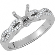 14kt White Engagement Semi-Mount with Head SI2-SI3 Round 06.50 MM Polished 1/8 CTW SEMI-MOUNT ENG RI