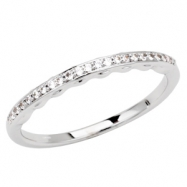 14kt White Band Complete with Stone SI2-SI3 Round 01.00 MM Diamond Polished 1/8 CTW BAND