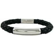 Stainless Steel 08.50 INCHES NONE BLACK LEATHER BANGLE