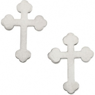14kt White PAIR 11.00X08.00 MM Polished CROSS EARRING WITH BACKS