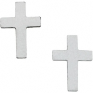 14kt White Earrings Complete No Setting 10.00X06.00 mm Pair Polished Cross Earring with Backs