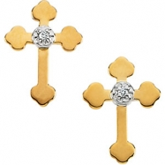 14kt Yellow Pair .01CTW Diamond Cross Earring