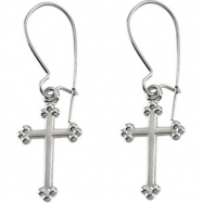 14kt Yellow PAIR 14.00X09.00 MM Polished EARWIRE WITH CROSS