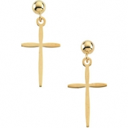 14kt Yellow PAIR 17.00X11.00 MM Polished CROSS BALL DANGLE EARRING