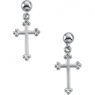 14kt White PAIR 14.00X09.00 MM Polished CROSS BALL DANGLE EARRING