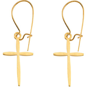 14kt Yellow PAIR 17.00X11.00 MM Polished EARWIRE WITH CROSS. Price: $90.94