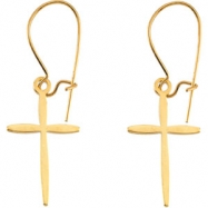 14kt Yellow PAIR 17.00X11.00 MM Polished EARWIRE WITH CROSS