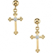 14kt Yellow PAIR 14.00X09.00 MM Polished CROSS AND BALL DANGLE EAR W/DI